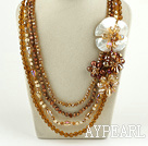 Wholesale Brown Seires Big Style Multi Strands Brown Pearl Crystal and White Lip Shell Flower Party Necklace