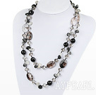 Wholesale long style black rutilated quartz necklace