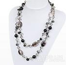 Wholesale long style black rutilated quartz necklace
