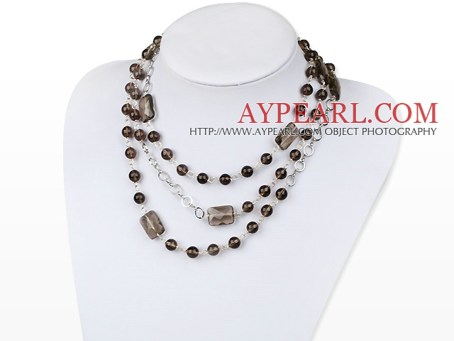 fashion long style smoky quartze necklace