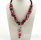 Nice Cluster Black And Red Crystal And Round Red Bloodstone Pendant Necklace With Moonight Clasp