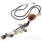 Fashion Simple Style Multi Brazil Agate Pendant Necklace With Black Cords