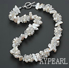 Wholesale white biwa pearl and crystal necklace with toggle clasp