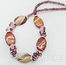 Fashion Cluster Purple Pink Crsyal And Oval Shape Red Agate Beads Necklace