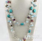 Wholesale 47.2 inches bright color crystal aquamarine and turquoise necklace