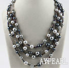 Beautiful 4-Strand Black And Gray Sea Shell Beads Necklace With Magnetic Clasp