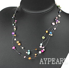 Wholesale beautiful seven colored pearl necklace with lobster clasp