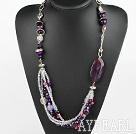 Fashion Layer Style Multi Purple Agate And Crystal Charm Strand Necklace