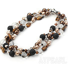 Wholesale multi strand crystal sea shell beads tiger eye and fire mountain rock necklace