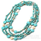 Popular 4-Strand Flat Round And Chipped Blue Turquoise And Coin Pearl Necklace With Magnetic Clasp