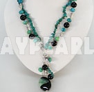 Wholesale double strand black agate and phoenix stone necklace