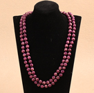 Noble Long Style Natural Purple Red Imperial Jasper Stone Beads Necklace