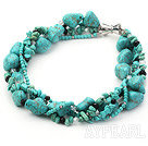 Wholesale multi strand black crystal and turquoise necklace