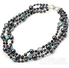 Beautiful Shiny 3 Strands Black Freshwater Pearl And Seashell Beaded Necklace