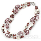 Wholesale double strand crystal and colored glaze necklace