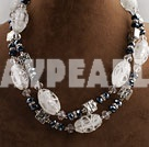 Wholesale double strand black crystal and white colored glaze necklace