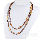 Wholesale 47.2 inches brown pearl crystal and shell necklace