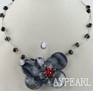 Wholesale 17.7 inches black crystal and butterfly shape shell necklace