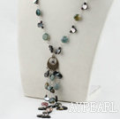 Wholesale 19.7 inches garnet black shell and indian agate necklace