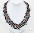 Wholesale beautiful three strand rainbow flourite and garnet necklace