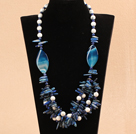 vogue style 23.6 inches white turquoise blue agate lapis necklace