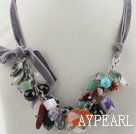 19.7 inches multicolor gemstone necklace with ribbon