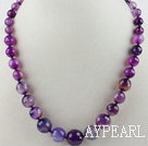 Round Faceted Purple Agate Graduated Beaded Necklace