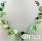 Wholesale multi strand green crystal and shell necklace