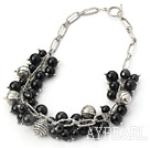 10-14mm black agate necklace with toggle clasp