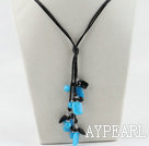 Fashion Black Agate Round And Rectangle Blue Kyanite Threaded Pendant Necklace