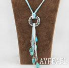 Wholesale 23.6 inches turquoise and heart charm necklace with extendable chain