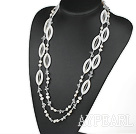 long style 51.2 inches white pearl crystal and shell necklace