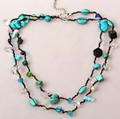 Long Style Turquoise and Pearl Crystal Hand Knotted Necklace