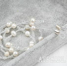 Hvit Freshwater Pearl and White Crystal Long halskjede