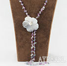Wholesale 23.6 inches rainblow flourite necklace with black shell flower