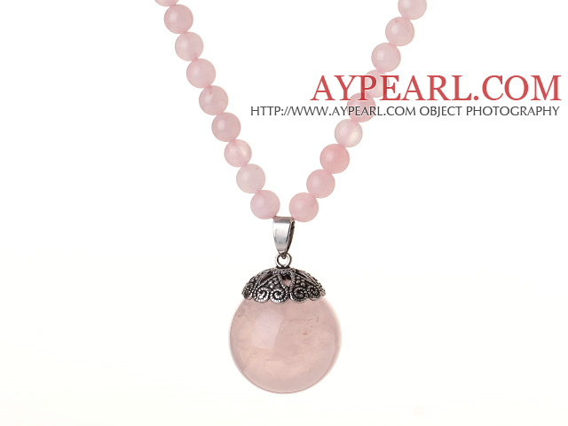 2014 Beautiful Long Style Round Rose Quartz Beads Pendant Necklace with Ajustable String