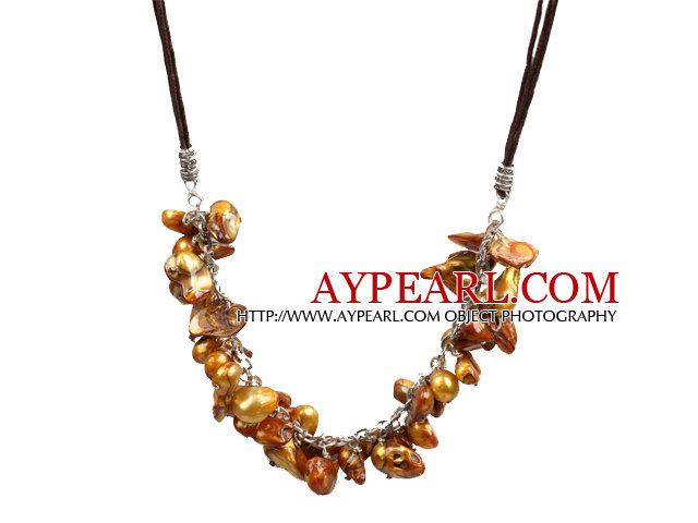 New Arrival Brown Teeth Shape Pearl Necklace with Lobster Clasp