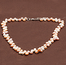 19 inches white pearl and howlite necklace with moonlight clasp