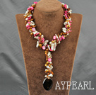 Wholesale Pink Series pearl shell and agate Y shaped necklace with moonlight clasp