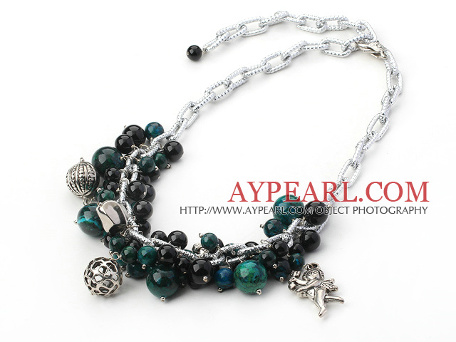 black agate and phoenix stone necklace with angle charms