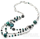 hot style black agate and phonix stone necklace