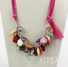 Wholesale 23.6 inches multi color gemstone necklace with ribbon