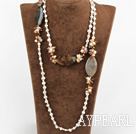 Wholesale 47.2 inches long style white pearl and crystal necklace
