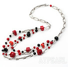 Wholesale fashion bloodstone coral and black agate necklace