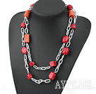 fashion long style coral necklace with big chain