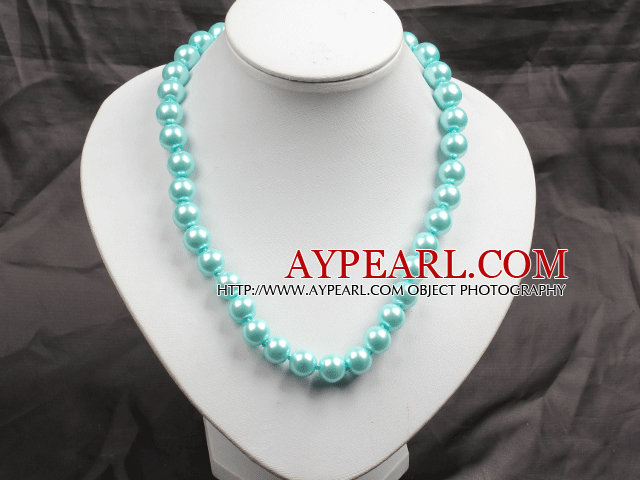12mm Light Blue Round Glass Pearl Beads Choker Necklace Jewelry