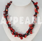 41.3 inches irregular shape red coral necklace