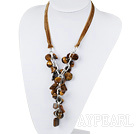 Wholesale 19.7 inches Y shape tiger eye necklace with ribbon