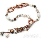 Wholesale Y shape brown pearl agate and riger eye necklace