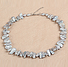 Gorgeous Party Style Natural Gray Teeth Shape Rebirth Pearl Necklace